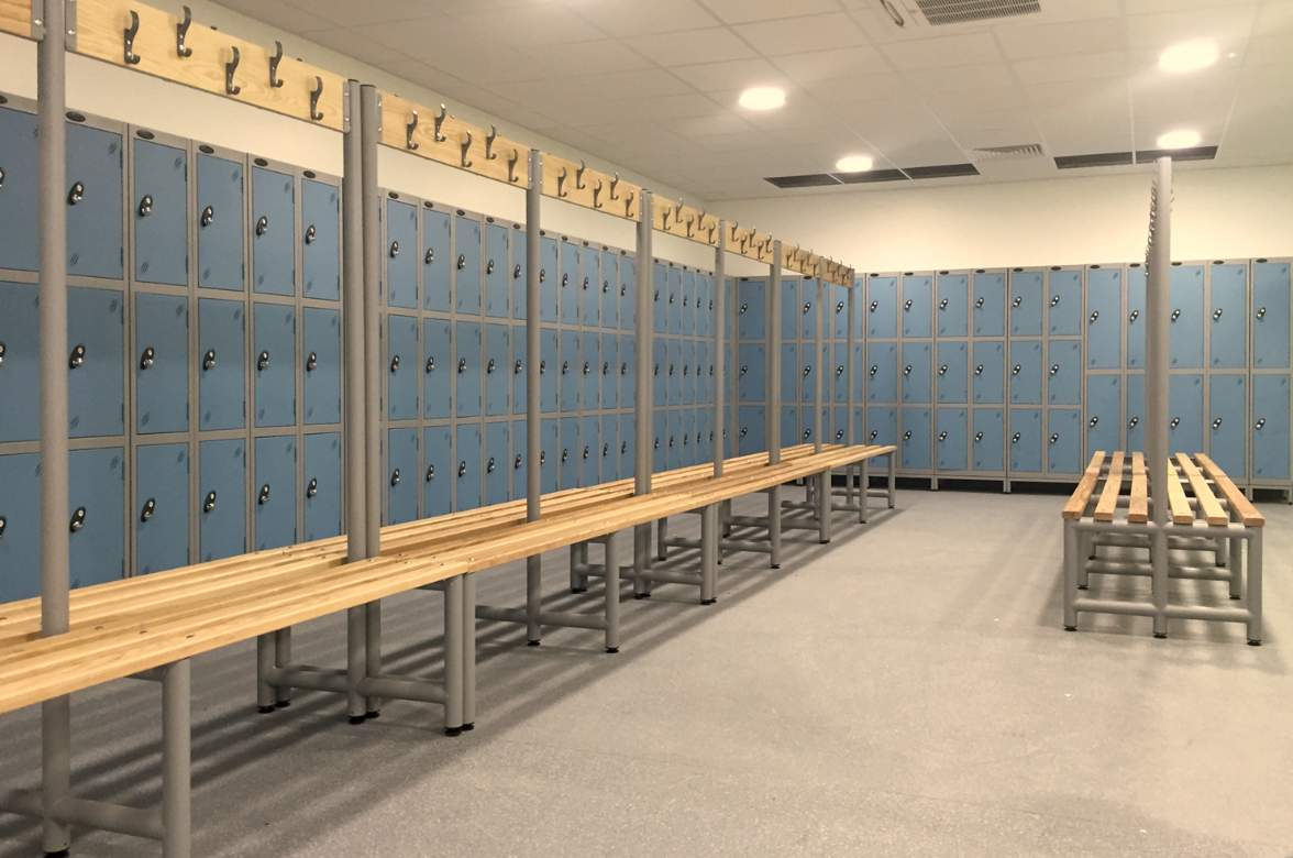 Sky blue locker doors with timber cloakroom benches